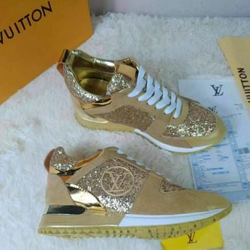 Louis Vuitton LV Gold Woman Men Fashion Sneakers Sport Shoes