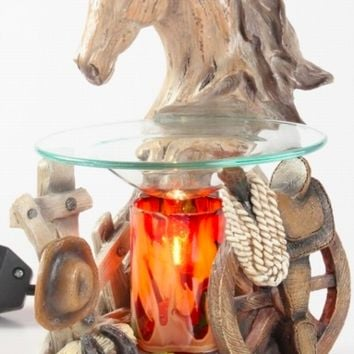 White Horse Head Table Fragrance Aroma Lamp Oil Diffuser Wax Tart Candle Warmer Burner Home Decor