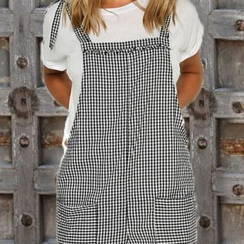 Black Plaid Pockets Shoulder Strap Casual Cute Overall Short Jumpsuit