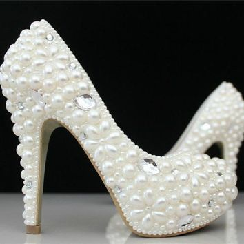 Fashion Online Cinderella's Wish Crystal & Pearl Wedding Shoes