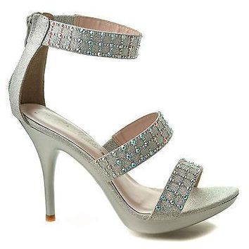 Sanyo140 Silver Sparkle By Blossom, Rhinestone Studded Strappy Platform Ankle Cuff Stiletto Heel Sandals