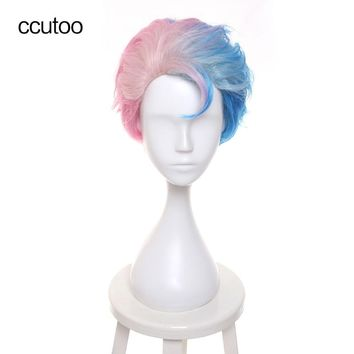 "ccutoo 12"" Men's Short Pink Blonde Blue Ombre Synthetic Hair Movie Batman Suicide Squad Harleen Quinzel Harley Quinn Cosplay Wig"