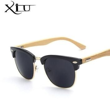 Half Metal Bamboo Sunglasses Men Women Brand Designer Glasses Mirror Sun Glasses Fashion Gafas Oculos De Sol UV400