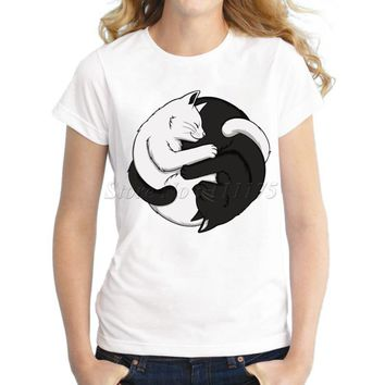 2016 Women Fashion Yin Yang Cats Design Short Sleeve T shirt Female Fantastic Printed Tops Casual Tees