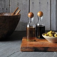 Glass Bottles With Wood Stoppers - Oil + Vinegar