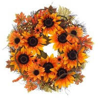 Home Accents Holiday 22 in. Mixed Sunflower Wreath-2245200HD - The Home Depot