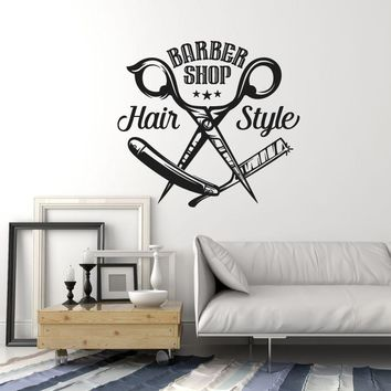 Vinyl Wall Decal Barbershop Scissors Hair Style Stylist Hairdresser Window Stickers Mural (ig5585)