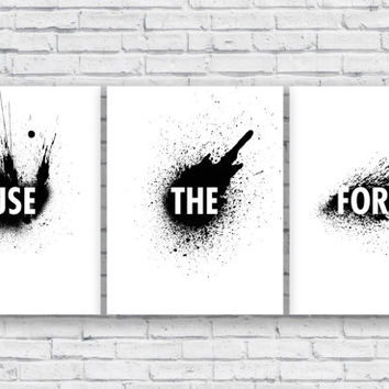 Use The Force -8.5x11- Star Wars Posters, Digital Download Comes with Three Files ready for printing! Great for wall decor or easy gifts!