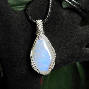 OOAK Moonstone necklace, wire wrapped rainbow moonstone, sterling silver wire wrap, black leather necklace, unique necklace for women