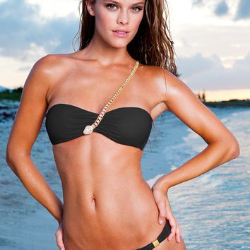 Sauvage Swimwear Crystal Snake in Black | Sauvage Bandeau Bikini