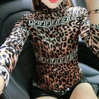 Fendi Autumn Winter Fashionable Women Casual Leopard Print Long Sleeve Velvet Pleuche Sweater Top