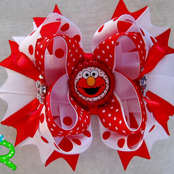 Elmo Boutique Hair Bow , Sesame street ott bow , red and white Layered Bow , Elmo stacked Bow for girls