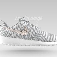 Custom Nike Roshe Run (Gray Print/White) running shoes with Swarovski Crystals