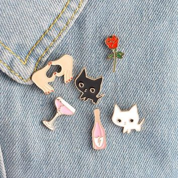 Trendy 1 pcs cartoon rose cat cup metal brooch button pins denim jacket pin jewelry decoration badge for clothes lapel pins AT_94_13