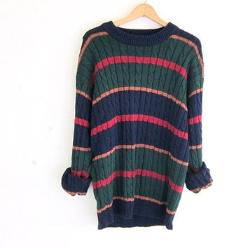 vintage cable knit sweater. oversized slouchy pullover sweater. crewneck stripe sweater size L