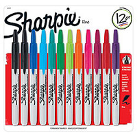 Sharpie Retractable Permanent Markers Fine Point Assorted Box Of 12 by Office Depot & OfficeMax