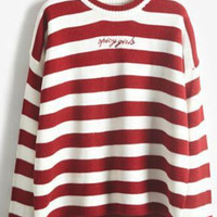 Red Stripe Knitted Long Sleeve Pullover Sweater