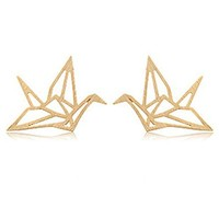 Hollow Out Paper Cranes Shape Stud Earrings Birthday Gift BDP 0618