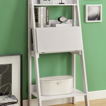 """White 61""""H Ladder Bookcase with a Drop-Down Desk"""