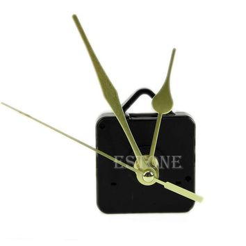 Free Shipping Quartz Clock Movement Mechanism Long Spindle Gold Hand Kit