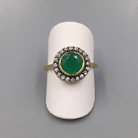 Emerald Green Glass Crystal Halo Ring - Vintage Alt Engagement Ring, Cubic Zirconia, Diamonique Size 7