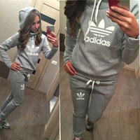 Adidas Casual Print Hoodie Top Sweater Pants Trousers Set Two-piece Sportswear