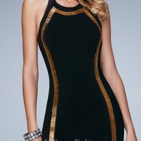 Gold Beaded Fitted Homecoming Dress by La Femme