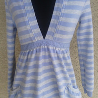 Old Navy top sweatshirt feminine shirt Large medium hooded blue stripes empire waist tie back ribbon cotton polyester spandex vintage 1994