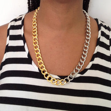 Chunky Gold and Silver Chain Link Necklace
