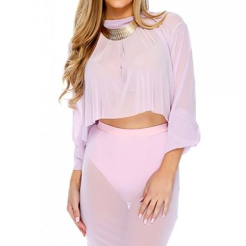 Sexy Lilac Sheer Long Sleeve High Waist Two Piece Party Dress