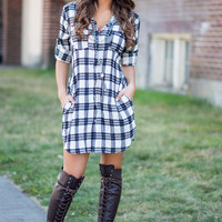 What I Love About You Plaid Button Up Back Design Dress (Black)