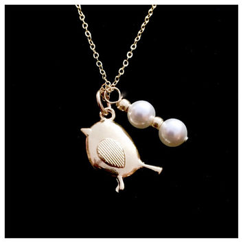 "Personalized Gold Filled Mama Bird Necklace with Swarovski Pearl ""Eggs"".  Beautiful gift for Mother's Day!"