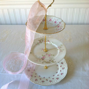 3 Tier High Tea Dessert/Vintage Plates Stand/Wedding, Princess Birthday, Bridal Shower or Tea Party Centerpiece/Jewelry Organizer