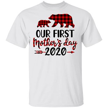 Our First Mothers Day Mommy Baby 2020 Red Plaid Bear