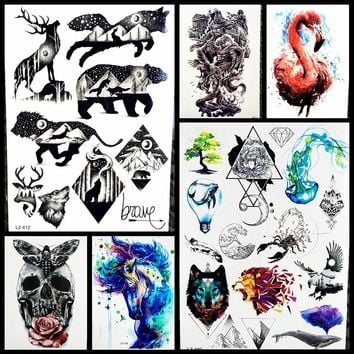 Bear Waterproof Black Temporary Tattoo Stickers Women Body Art Moose Fake Water Transfer Geometric Tattoo Men Wolf Totem GLZ-412