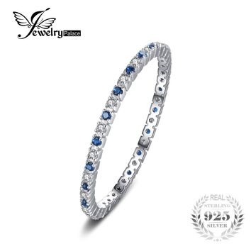 Round Created Blue Spinel Wedding Band Ring 100% 925 Sterling Silver Jewelry
