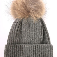 Linda Richards Fur Pom Beanie - Charcoal