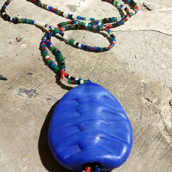 Grand Opening Sale Murano matte glass pendant blue on Murano colorful bead necklace, Handcrafted in Venice, Italy