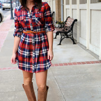 Holiday Plaid Belted Dress