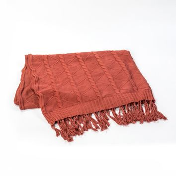 BURNT UMBER CABLE AND TWIST KNIT THROW