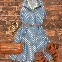 Polka Dot Chambray Sleeveless Dress
