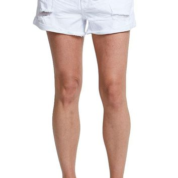 Just Black White Cut Off Shorts
