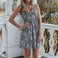 Veracruz Dress, Black/White