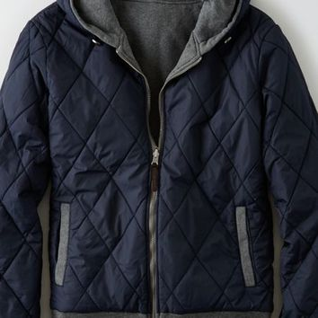 AEO Men's Reversible Quilted Fleece (Charcoal)