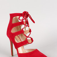 Shoe Republic Caged Lace Up Pointy Toe Stiletto Bootie