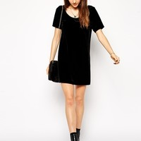 ASOS PETITE Exclusive Velvet Mini Shift Dress with Low Back