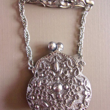 Silver Tone Purse Bag Brooch, Ornate Victorian Relief, Opens-Closes, Vintage