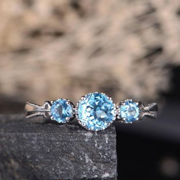 Blue Topaz Engagement Ring Three Stone Ring Solitaire Milgrain Eternity Antique Birthstone December