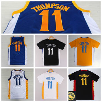New 11 Klay Thompson Shirt Uniform Rev 30 Christmas Chinese Klay Thompson Jersey Home Road Blue White with sleeve Black