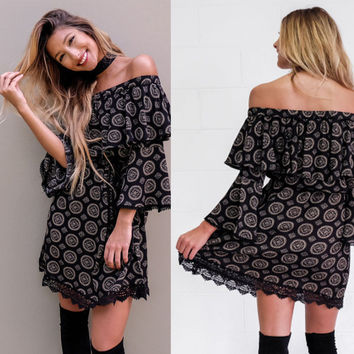 Black Vintage Print Off the Shoulder Lace Hem Dress